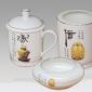供应景德镇厂家供应陶瓷茶杯 景德镇骨瓷茶杯 商务礼品杯三件套 会议纪念杯